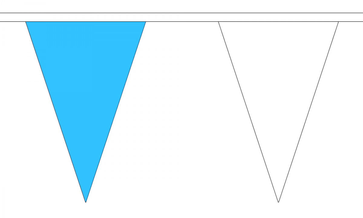 Sky Blue and White Small Triangle Bunting