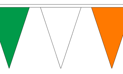 Green, White and Orange Small Triangle Bunting