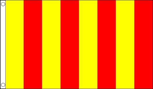 Yellow and Red Striped Racing Flag
